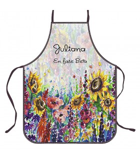 Apron Chef Sunflowers with your Name
