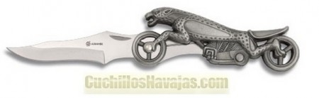 Coltello decorato con moto